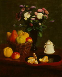 Henri Fantin Latour Flowers and fruit Giclee Art Paper Print Poster Reproduction
