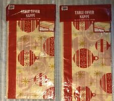 2 Vintage Christmas Plastic Party Table Covers 54 x 108