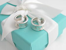 Auth Tiffany & Co Silver 1837 Wide Hoop Earrings Box