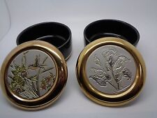 PAIR Vintage Japanese 24K Gold Edged Trinket Pot The Art of Chokin (ref46.2)