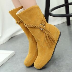 Women's Solid Tassels Faux Suede Ankle Boots Pull On Hidden Wedge Casual Shoes