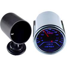 """2"""" 52mm Car Smoke Len LED Volt Voltage Gauge Meter Dial + Pod Holder"""