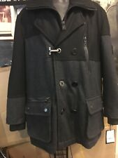 SCHOTT NYC Men's Black / gray single-breasted  Wool Jacket JF704 Size XL