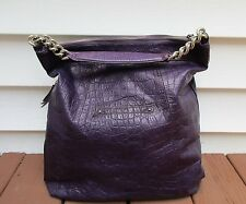 B. Makowsky Large Purple Embossed Leather Tote Shopper Satchel Hobo Chain Detail