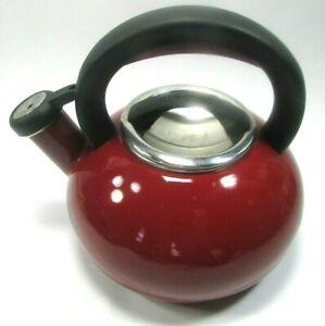 Circulon Whistling Tea Pot Kettle Burgandy Red 1.5Qt/1.4 L