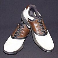 FootJoy FJ Size 10M White Brown Saddle Back Style 45516 Soft Spikes Golf Shoes