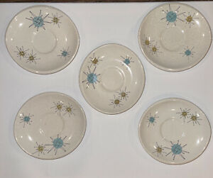Mc Bean and Co Franciscan Atomic Starburst Earthenware Saucers Mid Century Atomic saucers. Gladding 1950-1960 California Pottery