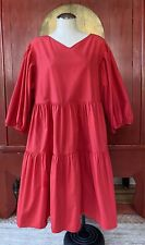 NWT & Other Stories Red Tiered Dress, Puffy Sleeves, V-Neck, Popover, Sz Medium