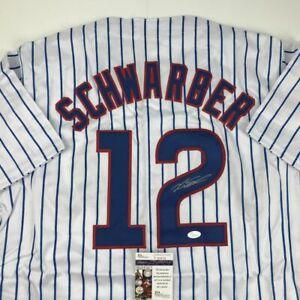 Autographed/Signed KYLE SCHWARBER Chicago Pinstripe Baseball Jersey JSA COA Auto
