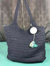 The Sak Palm Springs Crochet Navy Blue Hand Made XL Shoulder Bag