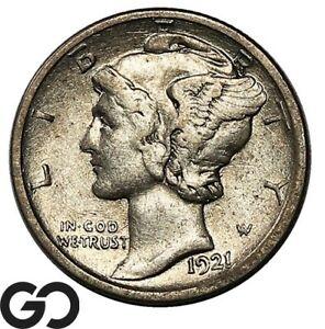 1921-D Mercury Dime, Avidly Pursued XF Low Mintage Key Date!