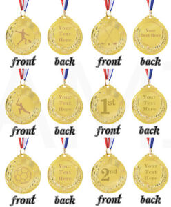 Custom Engraved Gold Coloured Metal Personalised Medal Sports Sporting Trophy