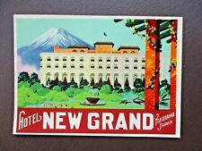 vintage ORIG HOTEL NEW GRAND YOKOHAMA JAPAN LUGGAGE LABEL STICKER #2