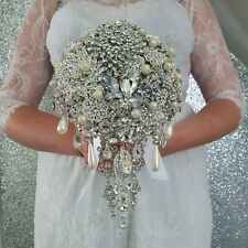 "Brooch bouquet, brides weddingcascade Bouquet 6"" size with trailing jewels"