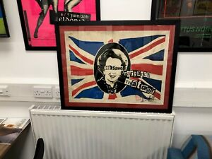 JAMIE REID SIGNED FRAMED GOD SAVE THATCHER WITH SAFETY PIN LTD EDITION PRINT