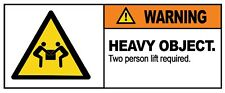 2 x - WARNING - HEAVY OBJECT - Sign Self Adhesive Removable Vinyl Sticker