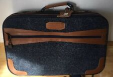 Vintage Pierre Cardin Suitcase Small Luggage Material Bag Blue Cloth 50x33x15cm