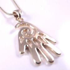 Hamsa Judaica Necklace Pendant Kabbalah Evil Eye Hand Of Fatima Spiral Gold