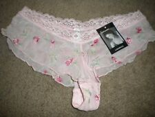 Rampage sheer pink mesh boyshort panty with over-embroidery NWT S 5