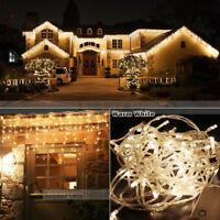 Warm White 96-960 LED Christmas String Fairy In / Outdoor Icicle Curtain Light