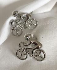 Cyclist Biker Cufflinks Silver Tone Metal