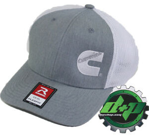 Dodge Cummins trucker hat richardson light Gray denim white mesh flex fit lg/xl