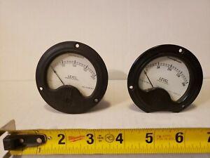 """Pair - 3.5"""" Westinghouse Level 0-200 Panel Meter - Vintage Old Gauge"""