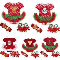 US Newborn Infant Baby Girl Christmas Clothes Romper Skirt Tutu Dress Outfit Set