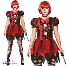 Ladies Horror Clown Costume Adults Freaky Circus Zombie Doll Fancy Dress Outfit