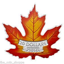 CANADA'S COLOURFUL MAPLE LEAF SHAPE COIN - 2016 $20 1 oz Fine Silver Coin - RCM