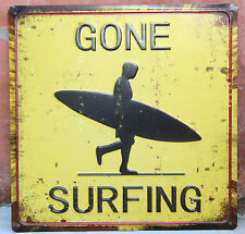 """Rustic   Metal """" Gone Surfing """"  wall Plaque  BRAND NEW"""