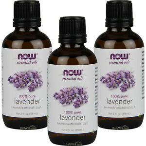3 x NOW FOODS 100% Pure Lavender Essential Oil 2 oz (59 ml), FRESH, MADE IN USA