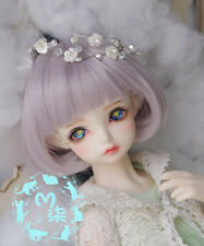 22-23cm Sweet Grey Violet Color Bangs Mushroom Pear Roll BJD Wig 1/3 Doll Hair