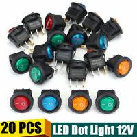 20 PCS 12V Car Boat Rocker Switch LED Dot Light Auto Round ON/OFF  Toggle SPST