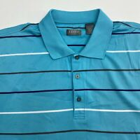 Izod Golf Polo Shirt Mens 2XL XXL Short Sleeve Blue White Striped 100% Polyester