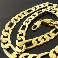 NECKLACE CHAIN GENUINE REAL 18K YELLOW GOLD G/F SOLID MEN'S FIGARO LINK DESIGN