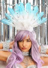 Deluxe Carnevale Showgirl Blu e Bianco Piuma Copricapo