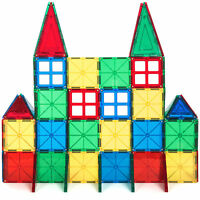 BCP 60-Piece Kids Magnetic Building Tiles Toy Set w/ Carrying Case - Multicolor