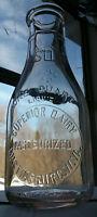 Superior Dairy Milk Bottle 1 Quart Embossed Martinsburg WV Duraglas