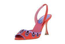 New Manolo Blahnik CATONA Sandals Suede Red Slingback Blue red Shoes 40.5