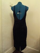 Black lightweight velvety  dress with low back by Essentials size 10 NWOT