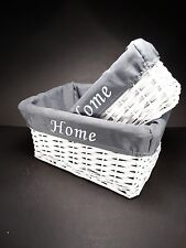 """2 en 1 Blanco """"Home"""" Shabby Chic Mimbre Ratán Cesta Cesta de almacenamiento de cocina Hogar"""
