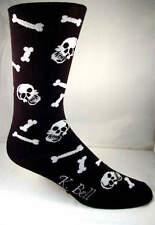 Bones K Bell Crew Socks Black New Men's Hosiery Size 10-13 Skulls Too