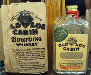 Rare 1927 Old Log Cabin Bourbon Bottle w/Packaging Al Capone's Prohibition Brand