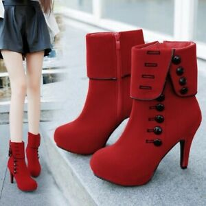 Fast Delivery New 2020 Fashion Women Ankle Boots High Heels Fashion Red Woman