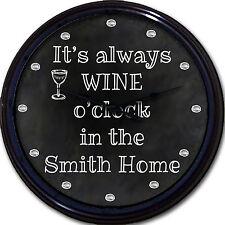 "Wine o'clock Chalkboard Wall Clock Custom Personalized Wine Glass New 10"""