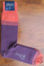 Corgi Mens Cotton Socks Size Large Checker Stripe Berry Made Wales Medium Thick