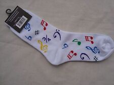 Ladies MUSIC Socks Sz 9-11 White w/ Colorful Music Symbols Great MUSIC Gift NWT