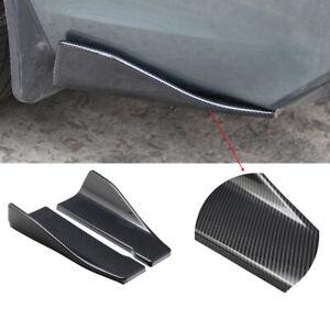 2Pcs Universal Carbon Fiber Style Car Bumper Spoiler Rear Splitter Diffuser Lip