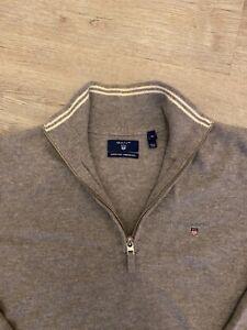 100% Genuine XL Gant 1/4 Zip Grey Jumper / Sweater Super Fine Lambswool